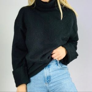 Zara Knit Black Oversized Knit Turtleneck Sweater